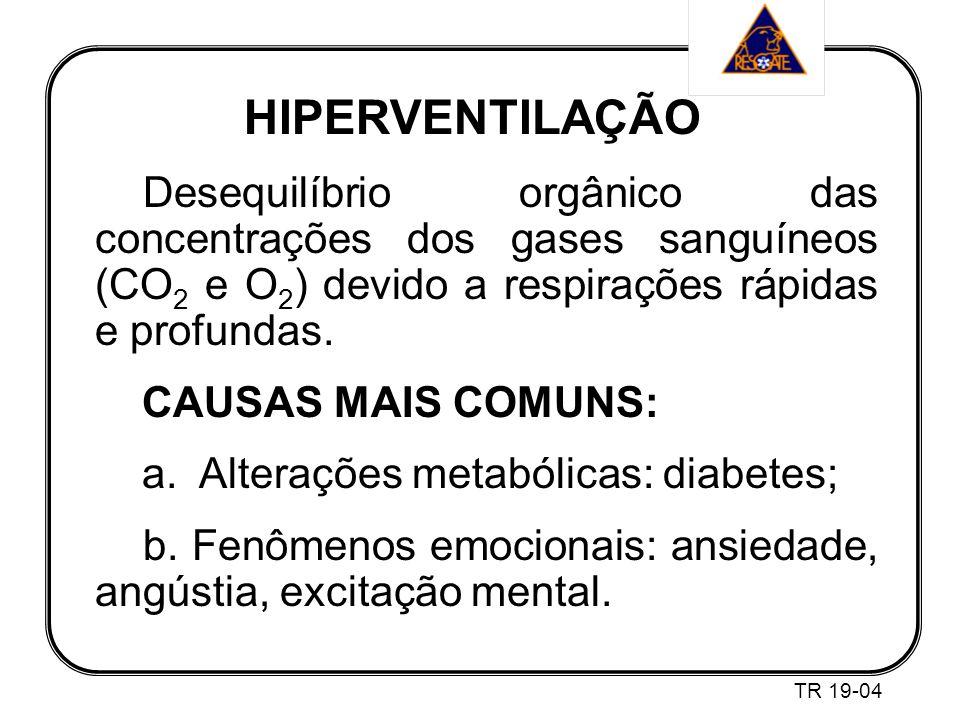 HIPERVENTILAÇÃO Desequilíbrio orgânico das concentrações dos gases sanguíneos (CO 2 e O 2 ) devido a respirações rápidas e profundas.