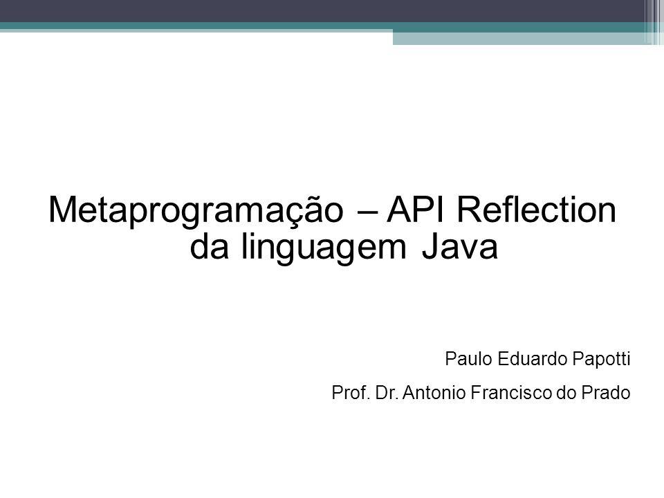 Metaprogramação – API Reflection da linguagem Java Paulo Eduardo Papotti Prof. Dr. Antonio Francisco do Prado