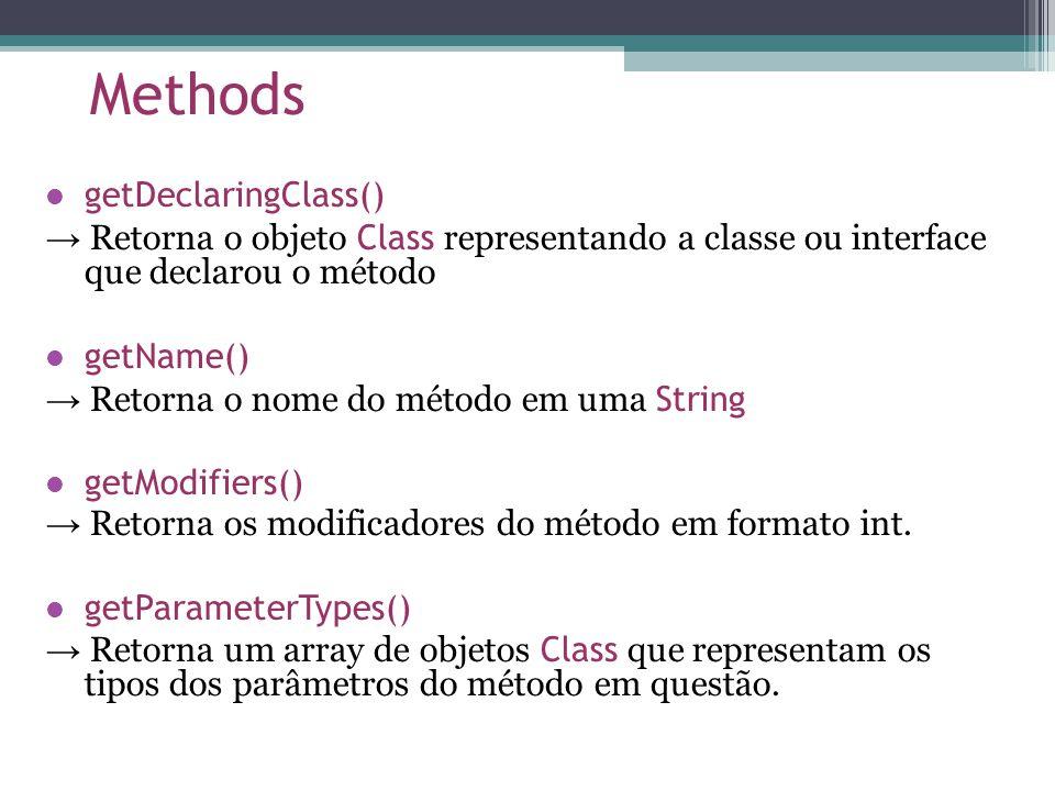 Methods getDeclaringClass() Retorna o objeto Class representando a classe ou interface que declarou o método getName() Retorna o nome do método em uma String getModifiers() Retorna os modificadores do método em formato int.