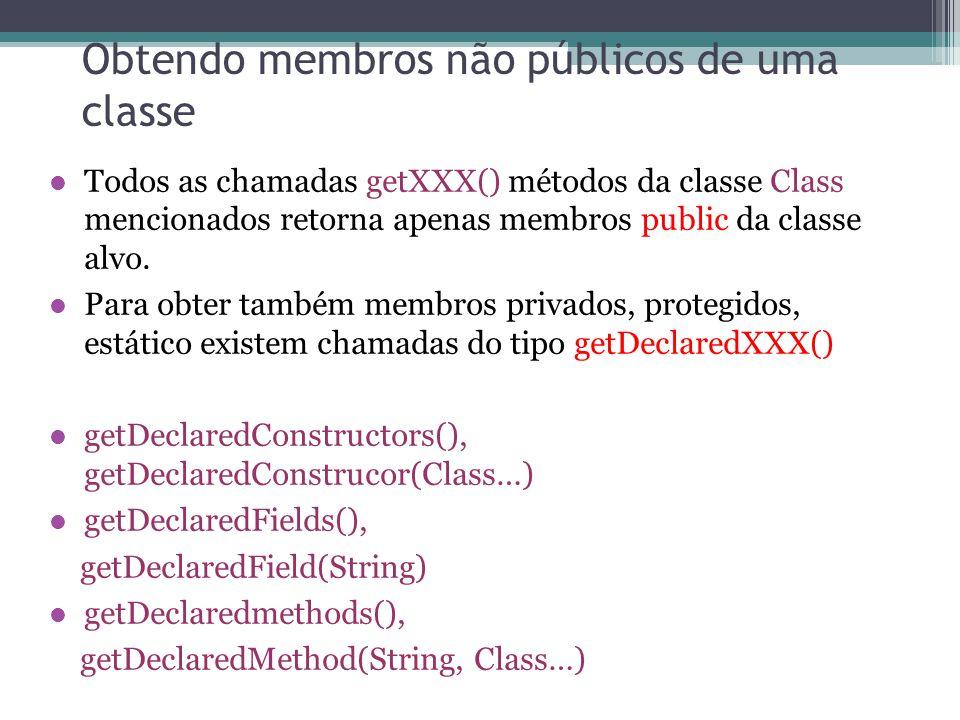 Obtendo membros não públicos de uma classe Todos as chamadas getXXX() métodos da classe Class mencionados retorna apenas membros public da classe alvo