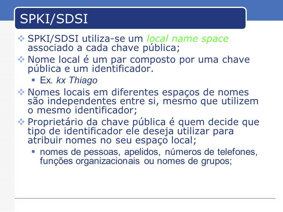 SPKI/SDSI SPKI/SDSI utiliza-se um local name space associado a cada chave pública; Nome local é um par composto por uma chave pública e um identificador.