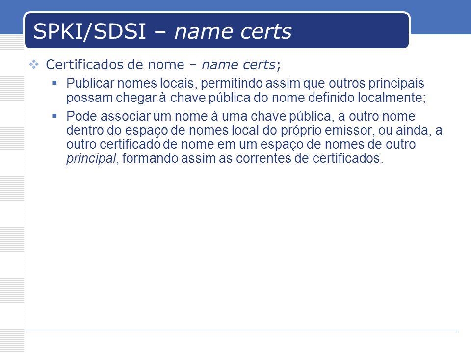 SPKI/SDSI – name certs Certificados de nome – name certs; Publicar nomes locais, permitindo assim que outros principais possam chegar à chave pública do nome definido localmente; Pode associar um nome à uma chave pública, a outro nome dentro do espaço de nomes local do próprio emissor, ou ainda, a outro certificado de nome em um espaço de nomes de outro principal, formando assim as correntes de certificados.