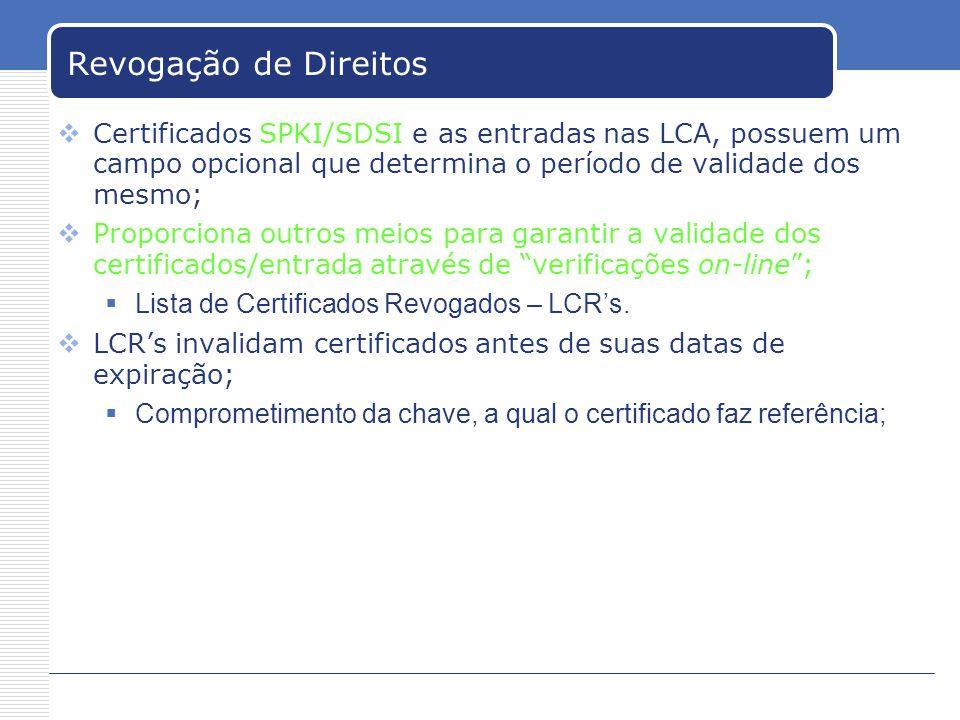 Revogação de Direitos Certificados SPKI/SDSI e as entradas nas LCA, possuem um campo opcional que determina o período de validade dos mesmo; Proporciona outros meios para garantir a validade dos certificados/entrada através de verificações on-line; Lista de Certificados Revogados – LCRs.