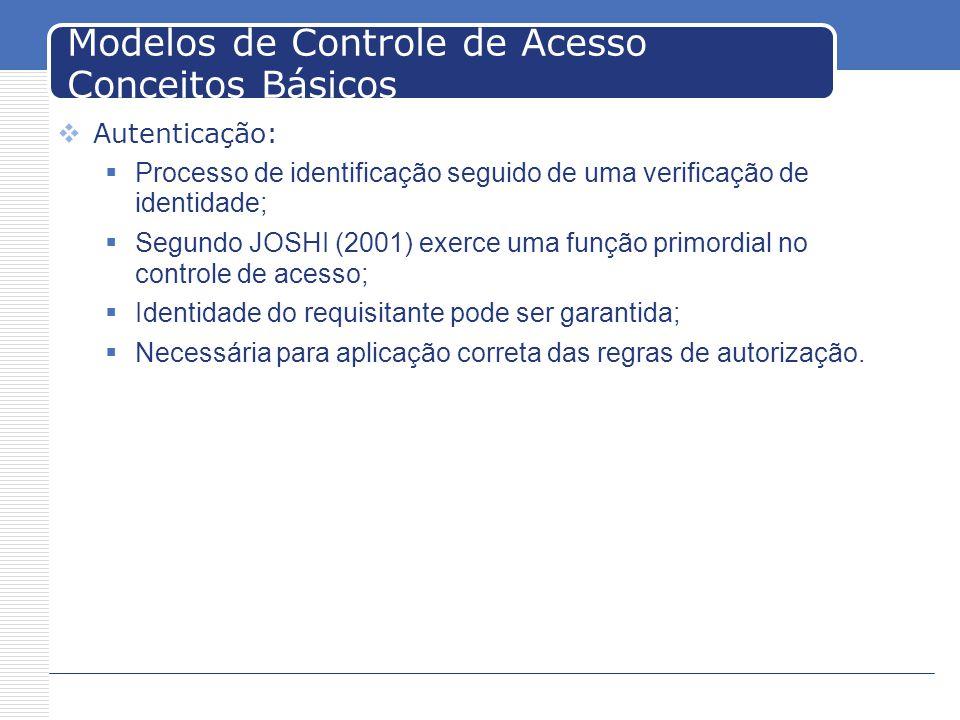 Modelos de Controle de Acesso Conceitos Básicos Autenticação: Processo de identificação seguido de uma verificação de identidade; Segundo JOSHI (2001) exerce uma função primordial no controle de acesso; Identidade do requisitante pode ser garantida; Necessária para aplicação correta das regras de autorização.