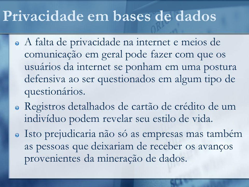 P rivacidade em bases de dados Quem se importa com privacidade.