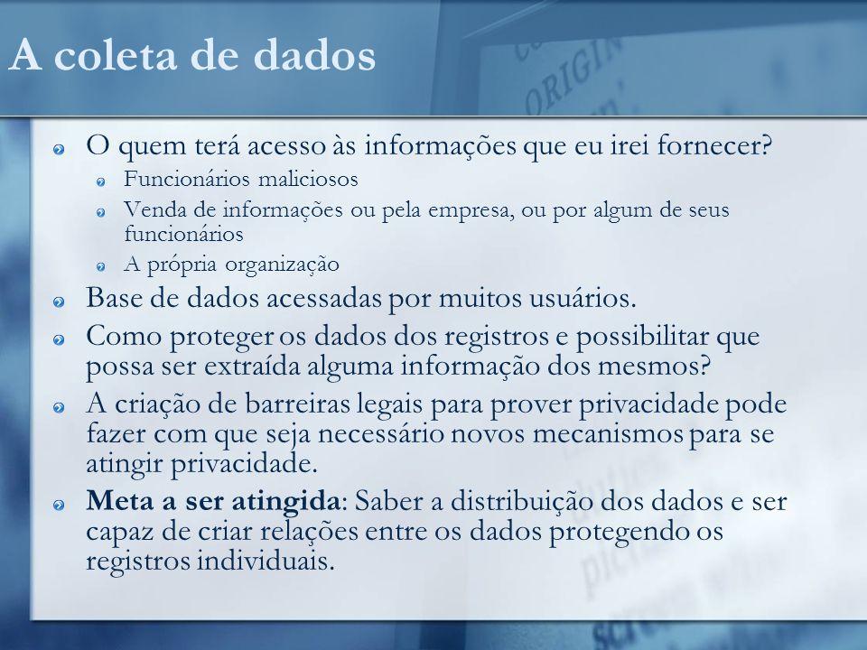 Garantindo a privacidade Formas inibidoras Auditoria dos acessos à base Formas restritivas Controle de acesso as diversas tabelas do banco Ex.
