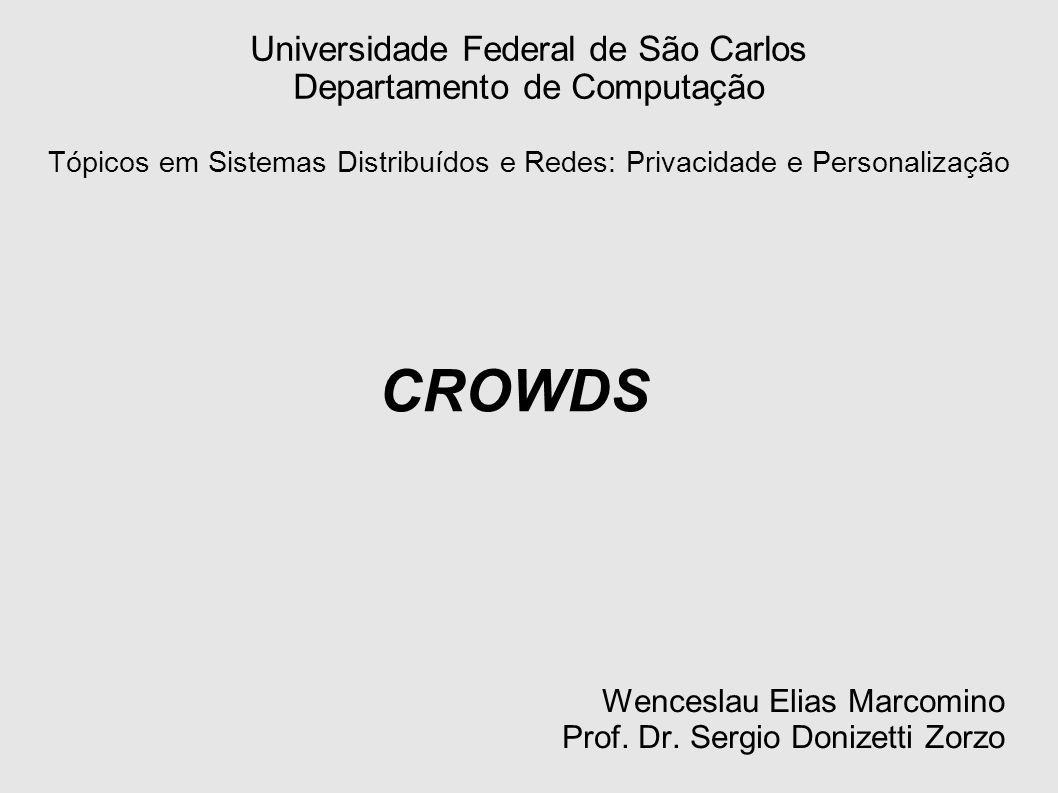 Agenda Aspectos de Anonimato Crowds Funcionamento Análise de Segurança Segurança na Implementação Riscos e Limitações Aspectos Políticos de Uso Tor / Anonymizer / Mix-Net / Crowd Bibliografia