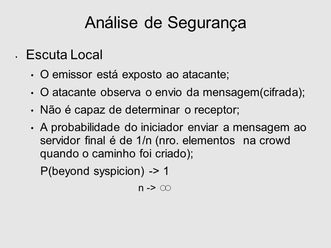 Escuta Local O emissor está exposto ao atacante; O atacante observa o envio da mensagem(cifrada); Não é capaz de determinar o receptor; A probabilidade do iniciador enviar a mensagem ao servidor final é de 1/n (nro.
