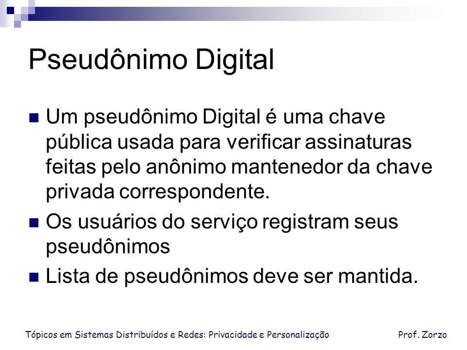 Tópicos em Sistemas Distribuídos e Redes: Privacidade e PersonalizaçãoProf. Zorzo Pseudônimo Digital Um pseudônimo Digital é uma chave pública usada p