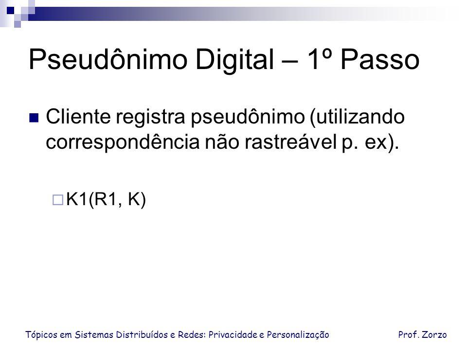 Tópicos em Sistemas Distribuídos e Redes: Privacidade e PersonalizaçãoProf. Zorzo Pseudônimo Digital – 1º Passo Cliente registra pseudônimo (utilizand