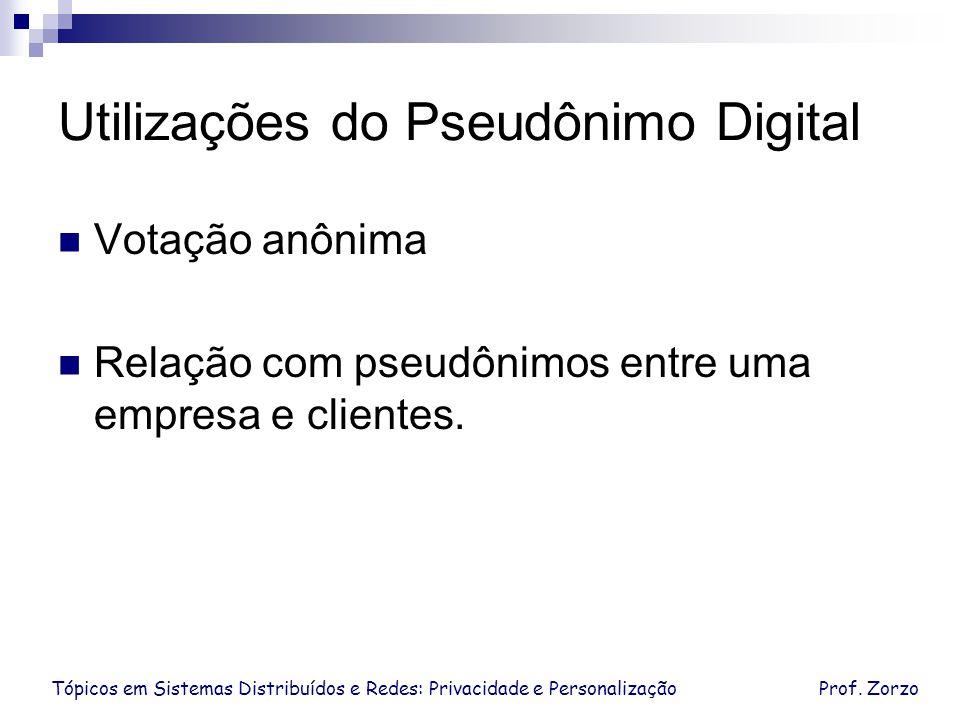 Tópicos em Sistemas Distribuídos e Redes: Privacidade e PersonalizaçãoProf. Zorzo Utilizações do Pseudônimo Digital Votação anônima Relação com pseudô