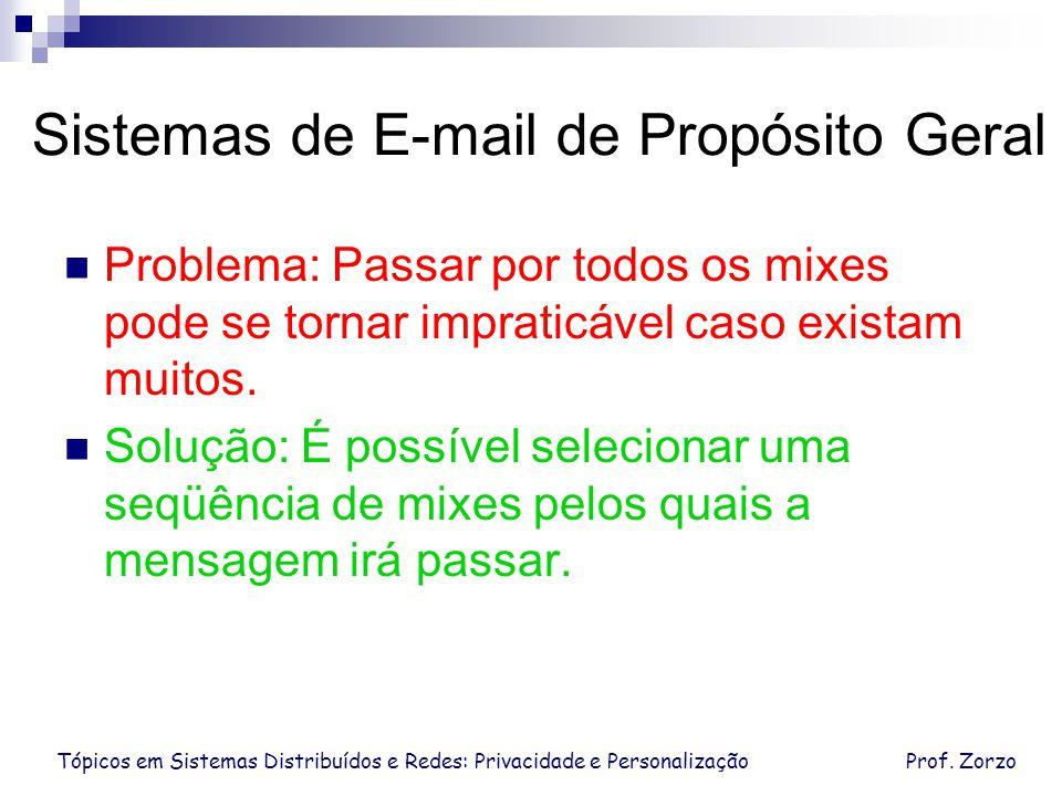 Tópicos em Sistemas Distribuídos e Redes: Privacidade e PersonalizaçãoProf. Zorzo Sistemas de E-mail de Propósito Geral Problema: Passar por todos os