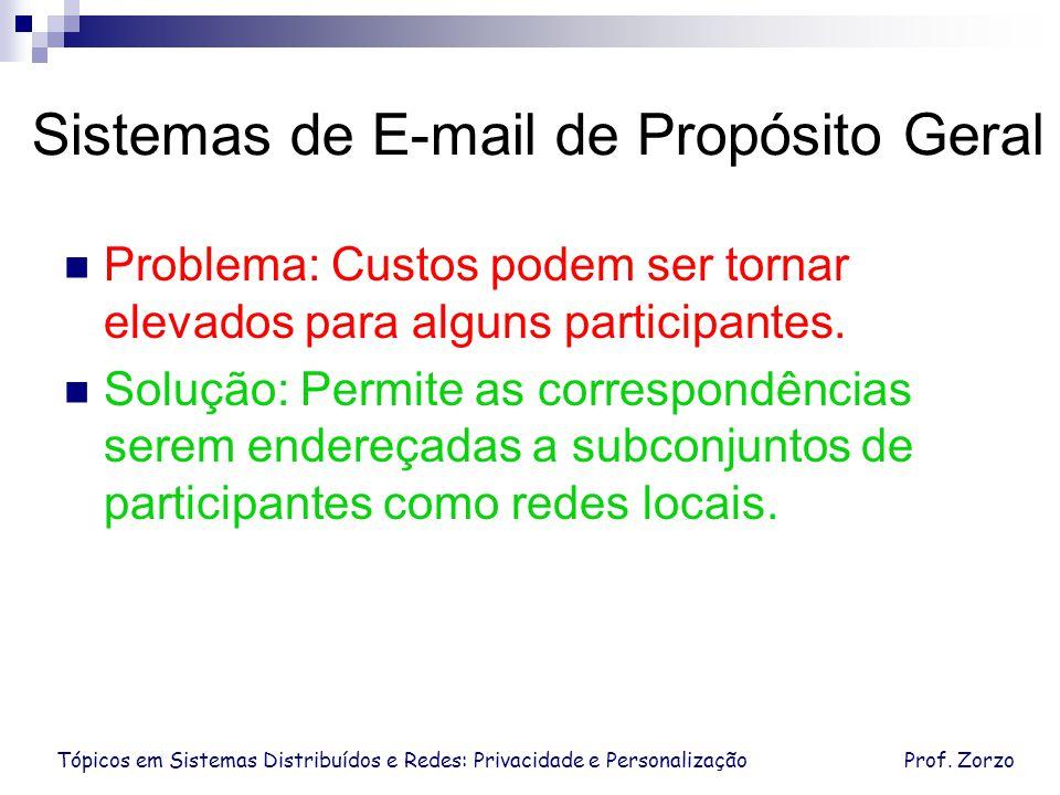 Tópicos em Sistemas Distribuídos e Redes: Privacidade e PersonalizaçãoProf. Zorzo Sistemas de E-mail de Propósito Geral Problema: Custos podem ser tor