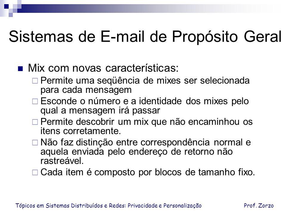 Tópicos em Sistemas Distribuídos e Redes: Privacidade e PersonalizaçãoProf. Zorzo Sistemas de E-mail de Propósito Geral Mix com novas características: