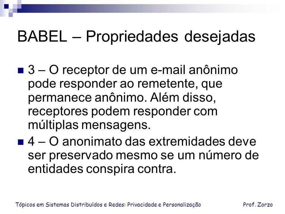 Tópicos em Sistemas Distribuídos e Redes: Privacidade e PersonalizaçãoProf. Zorzo BABEL – Propriedades desejadas 3 – O receptor de um e-mail anônimo p