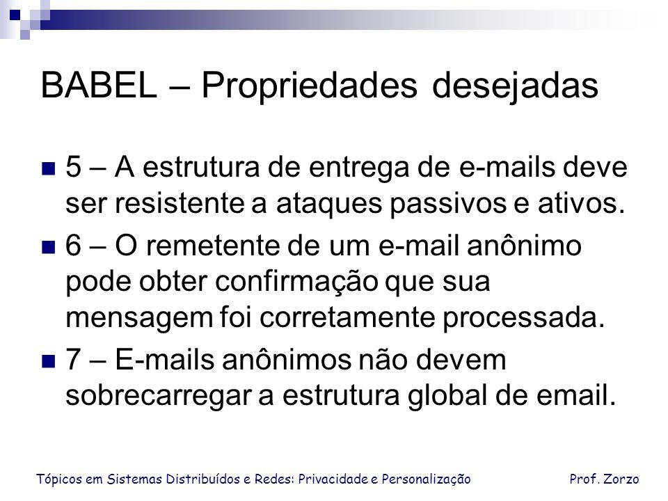 Tópicos em Sistemas Distribuídos e Redes: Privacidade e PersonalizaçãoProf. Zorzo BABEL – Propriedades desejadas 5 – A estrutura de entrega de e-mails