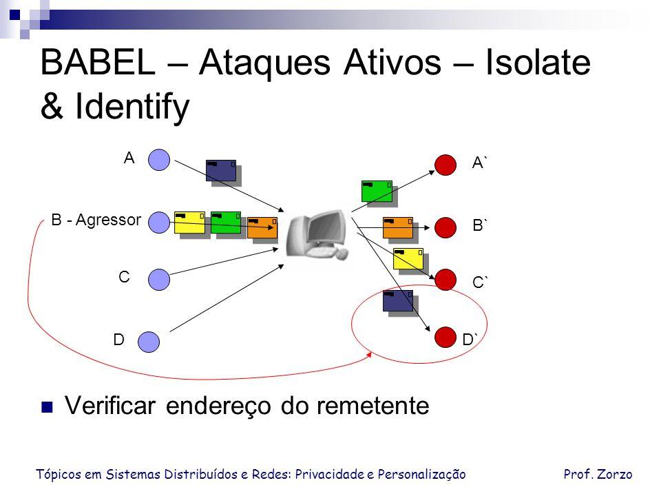 Tópicos em Sistemas Distribuídos e Redes: Privacidade e PersonalizaçãoProf. Zorzo BABEL – Ataques Ativos – Isolate & Identify D C B - Agressor A D` C`