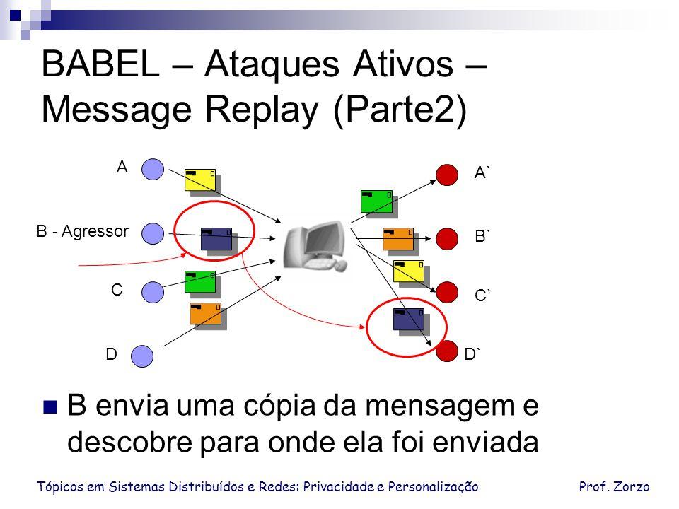 Tópicos em Sistemas Distribuídos e Redes: Privacidade e PersonalizaçãoProf. Zorzo BABEL – Ataques Ativos – Message Replay (Parte2) D C B - Agressor A