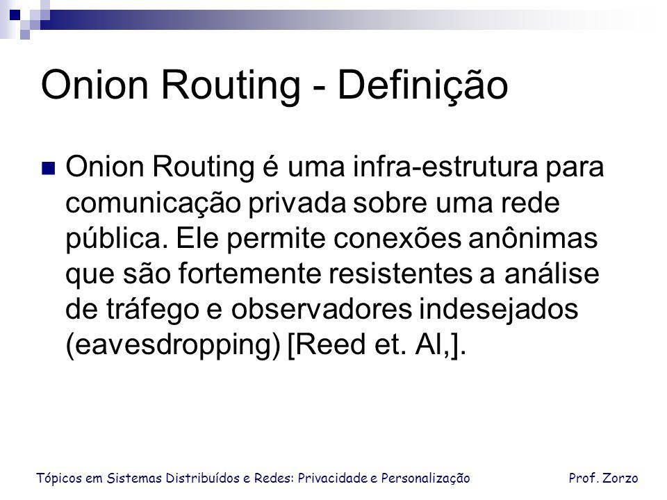 Tópicos em Sistemas Distribuídos e Redes: Privacidade e PersonalizaçãoProf. Zorzo Onion Routing - Definição Onion Routing é uma infra-estrutura para c