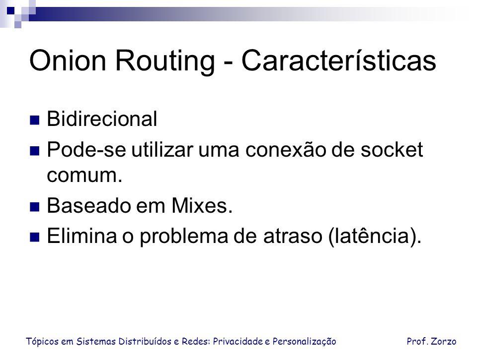Tópicos em Sistemas Distribuídos e Redes: Privacidade e PersonalizaçãoProf. Zorzo Onion Routing - Características Bidirecional Pode-se utilizar uma co