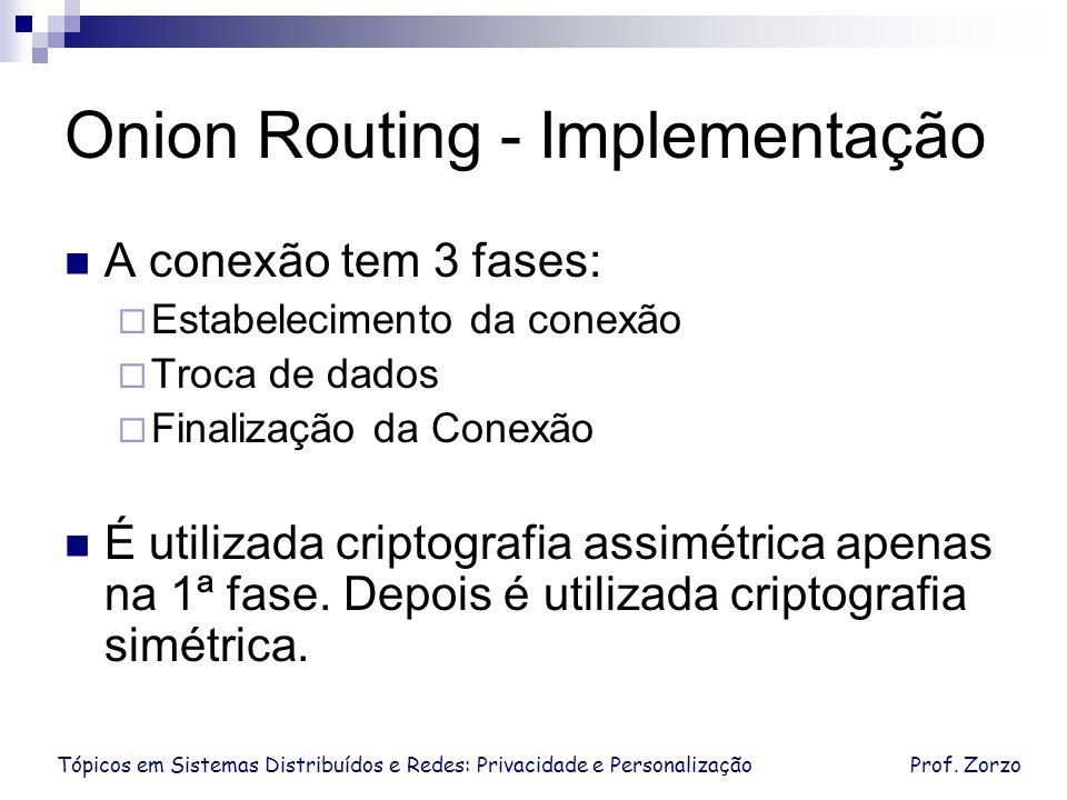 Tópicos em Sistemas Distribuídos e Redes: Privacidade e PersonalizaçãoProf. Zorzo Onion Routing - Implementação A conexão tem 3 fases: Estabelecimento