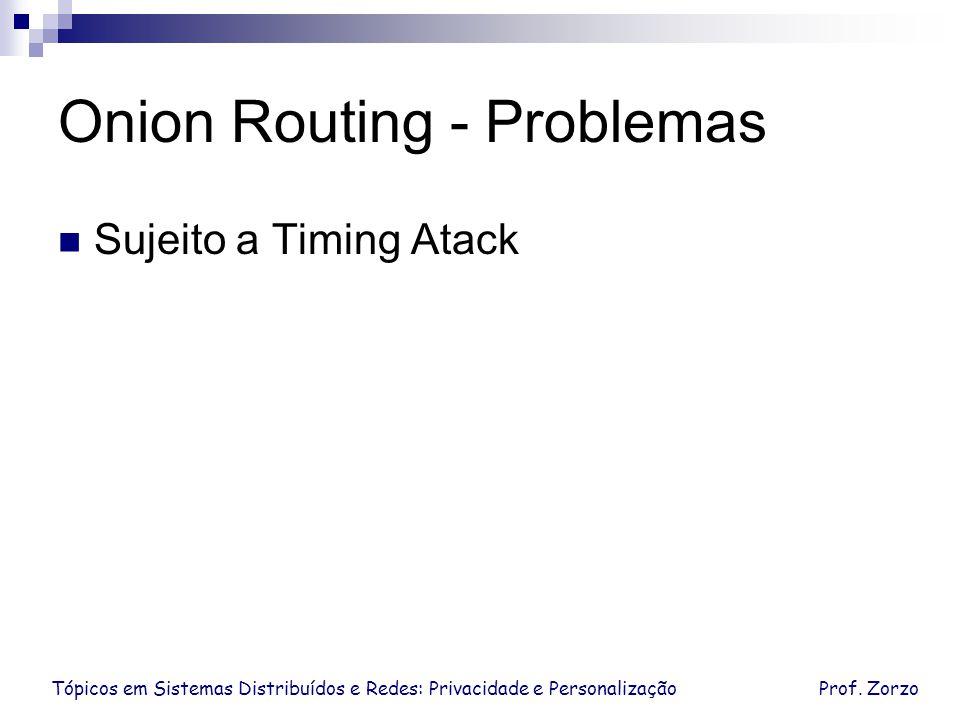 Tópicos em Sistemas Distribuídos e Redes: Privacidade e PersonalizaçãoProf. Zorzo Onion Routing - Problemas Sujeito a Timing Atack
