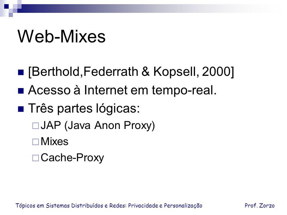 Tópicos em Sistemas Distribuídos e Redes: Privacidade e PersonalizaçãoProf. Zorzo Web-Mixes [Berthold,Federrath & Kopsell, 2000] Acesso à Internet em