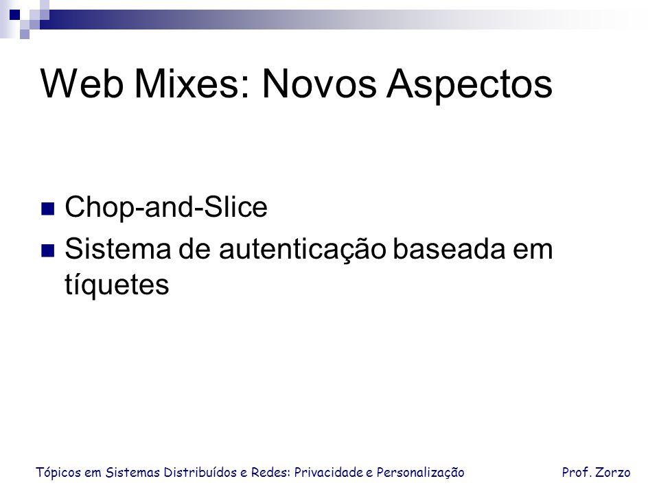 Tópicos em Sistemas Distribuídos e Redes: Privacidade e PersonalizaçãoProf. Zorzo Web Mixes: Novos Aspectos Chop-and-Slice Sistema de autenticação bas