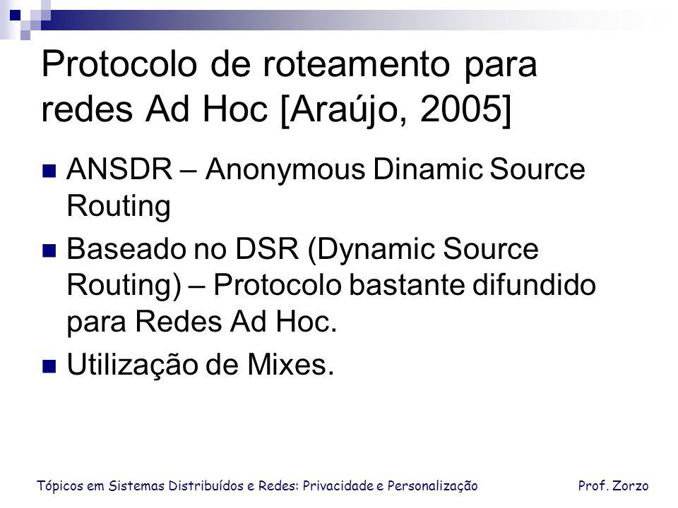 Tópicos em Sistemas Distribuídos e Redes: Privacidade e PersonalizaçãoProf. Zorzo Protocolo de roteamento para redes Ad Hoc [Araújo, 2005] ANSDR – Ano