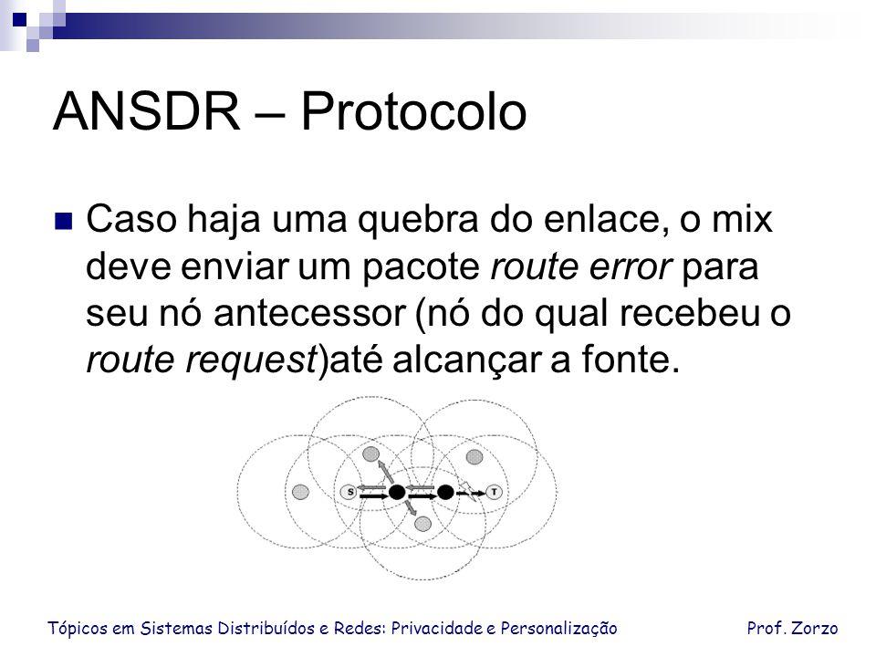 Tópicos em Sistemas Distribuídos e Redes: Privacidade e PersonalizaçãoProf. Zorzo ANSDR – Protocolo Caso haja uma quebra do enlace, o mix deve enviar