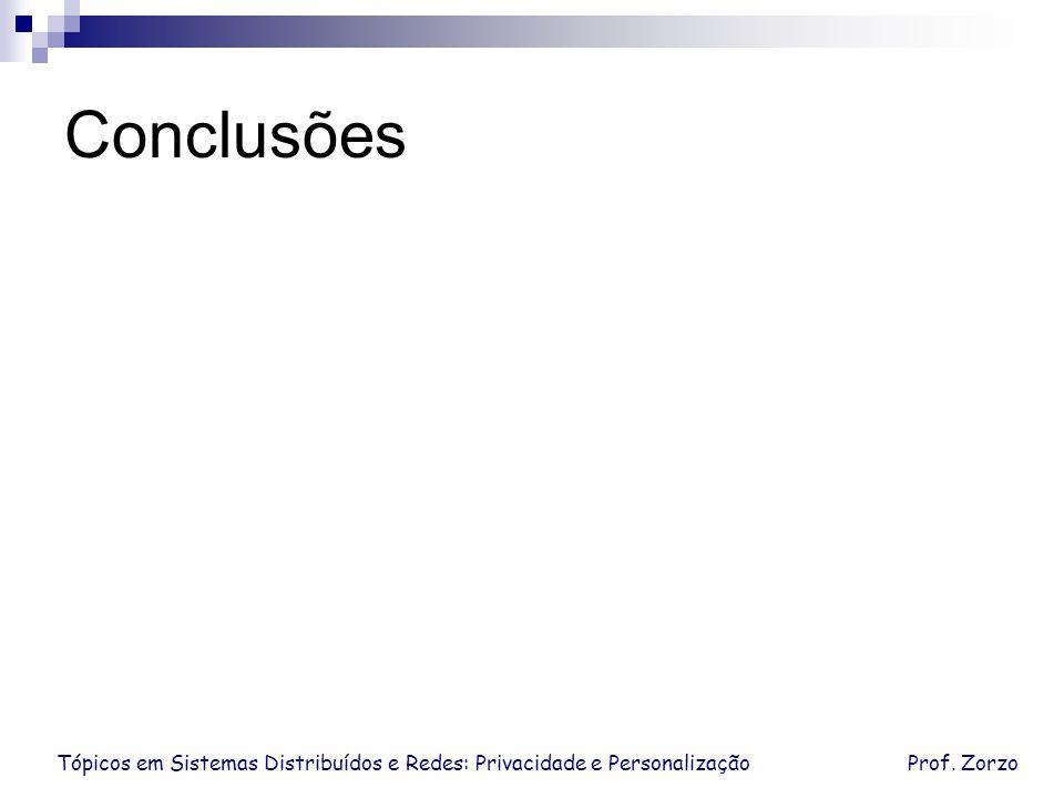 Tópicos em Sistemas Distribuídos e Redes: Privacidade e PersonalizaçãoProf. Zorzo Conclusões