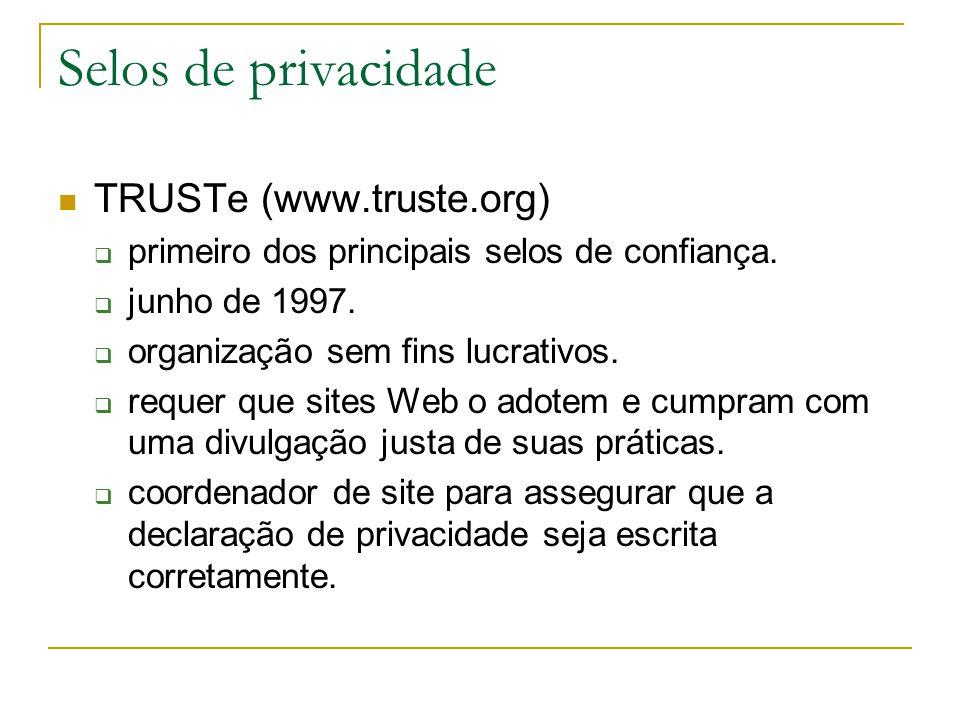 Selos de privacidade TRUSTe (www.truste.org) primeiro dos principais selos de confiança. junho de 1997. organização sem fins lucrativos. requer que si