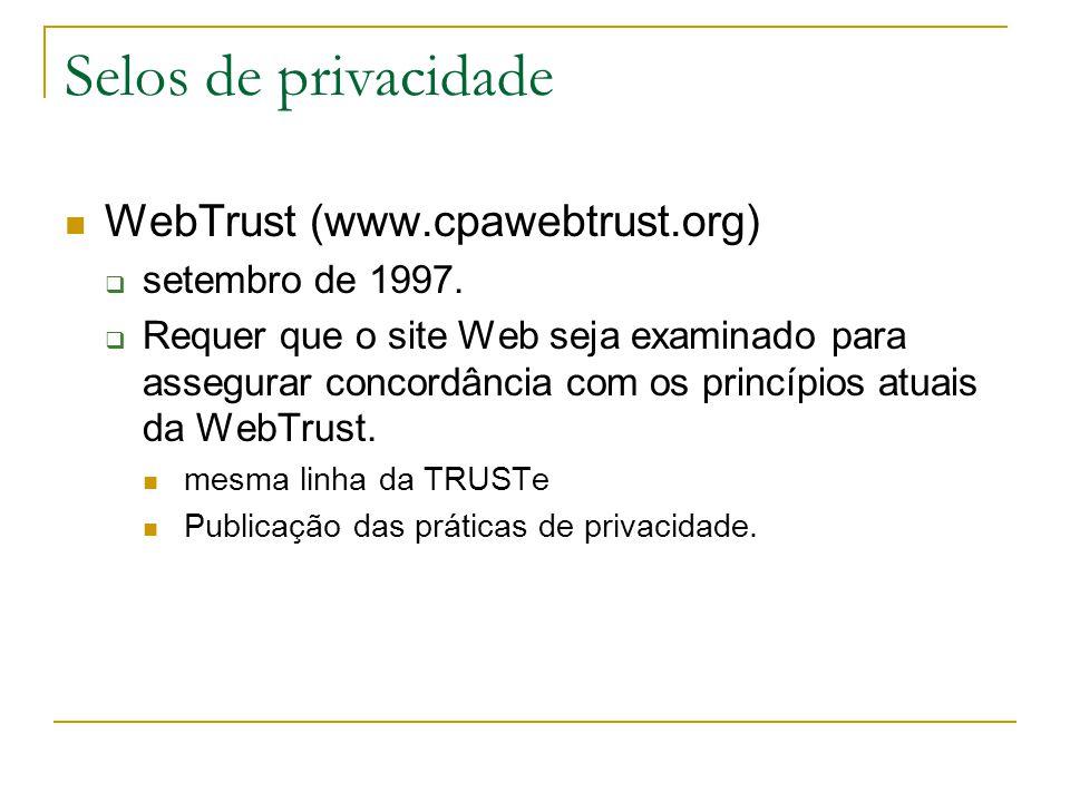Selos de privacidade WebTrust (www.cpawebtrust.org) setembro de 1997. Requer que o site Web seja examinado para assegurar concordância com os princípi