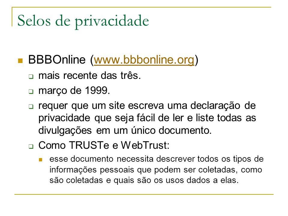 Selos de privacidade BBBOnline (www.bbbonline.org)www.bbbonline.org mais recente das três. março de 1999. requer que um site escreva uma declaração de