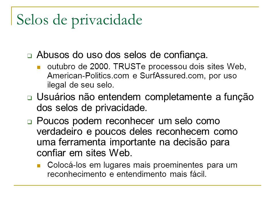 Selos de privacidade Abusos do uso dos selos de confiança. outubro de 2000. TRUSTe processou dois sites Web, American-Politics.com e SurfAssured.com,