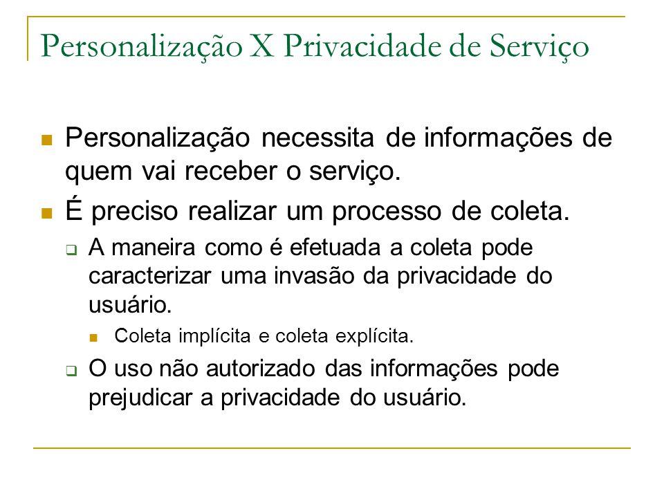 Personalização X Privacidade de Serviço Personalização necessita de informações de quem vai receber o serviço. É preciso realizar um processo de colet