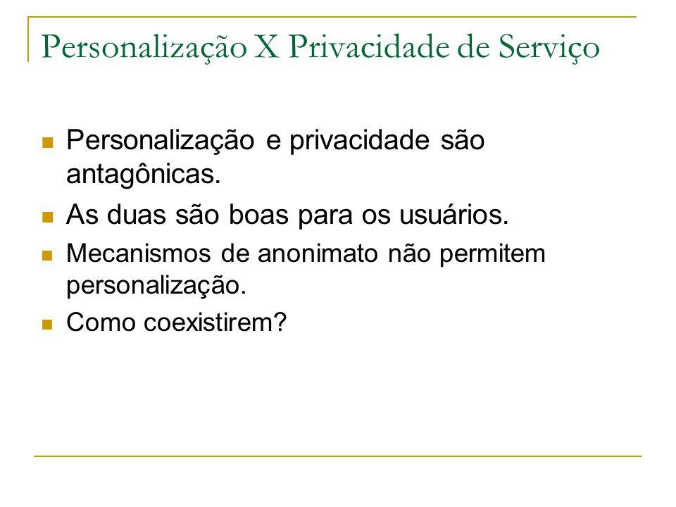 Personalização X Privacidade de Serviço Personalização e privacidade são antagônicas. As duas são boas para os usuários. Mecanismos de anonimato não p