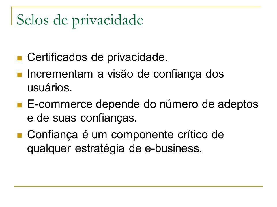 Selos de privacidade Certificados de privacidade. Incrementam a visão de confiança dos usuários. E-commerce depende do número de adeptos e de suas con