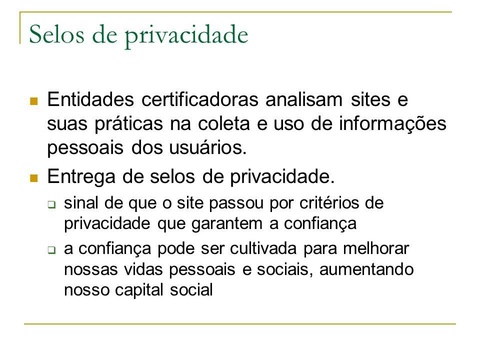 Selos de privacidade Entidades certificadoras analisam sites e suas práticas na coleta e uso de informações pessoais dos usuários. Entrega de selos de