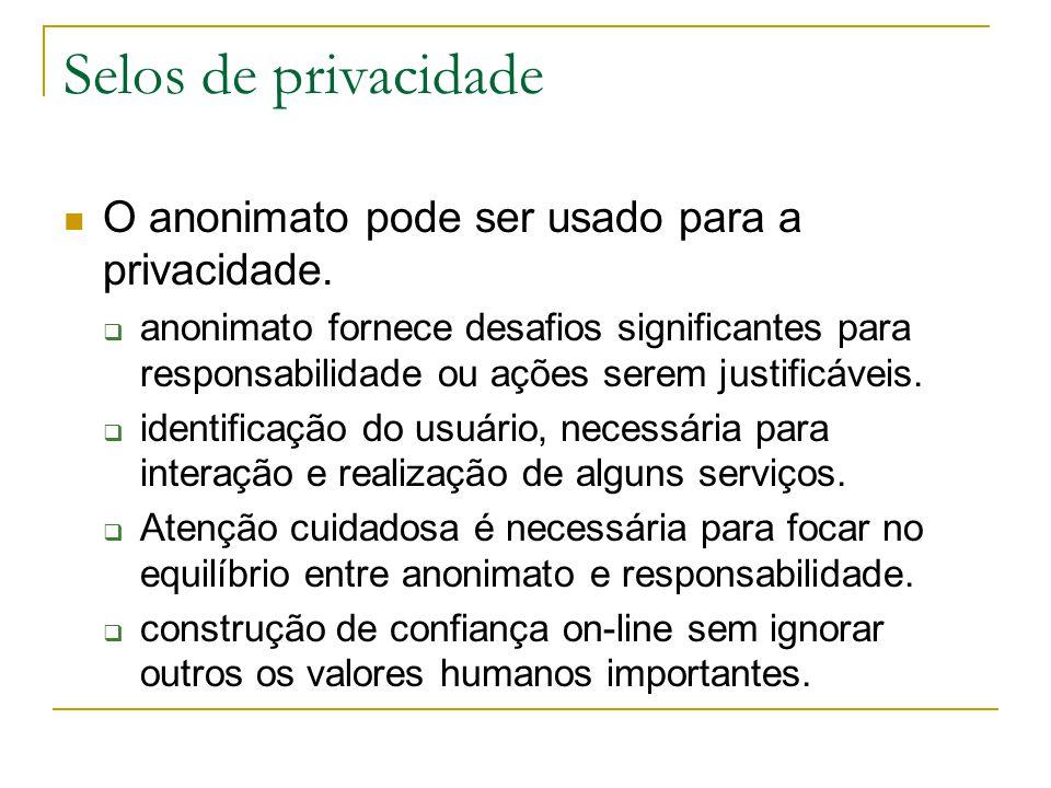 Selos de privacidade O anonimato pode ser usado para a privacidade. anonimato fornece desafios significantes para responsabilidade ou ações serem just