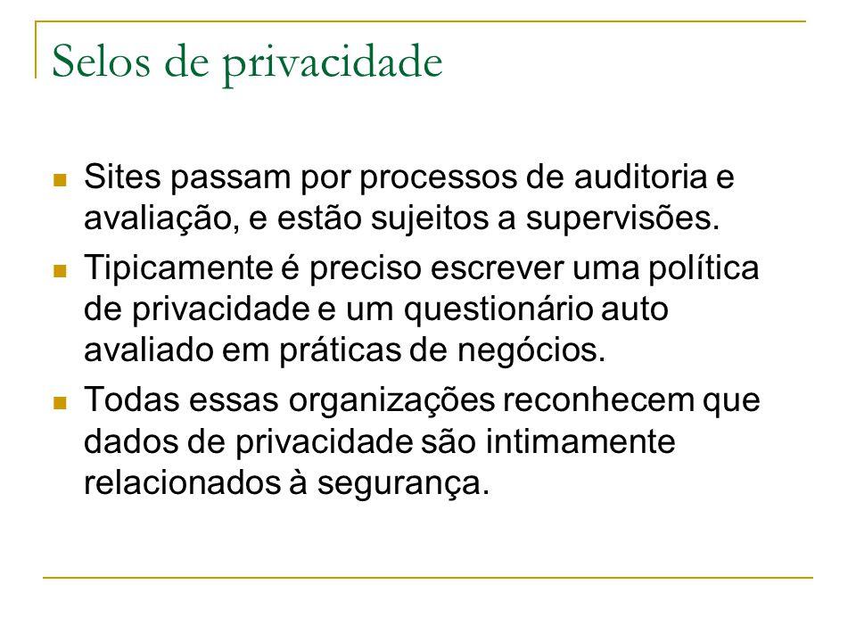 Selos de privacidade Sites passam por processos de auditoria e avaliação, e estão sujeitos a supervisões. Tipicamente é preciso escrever uma política