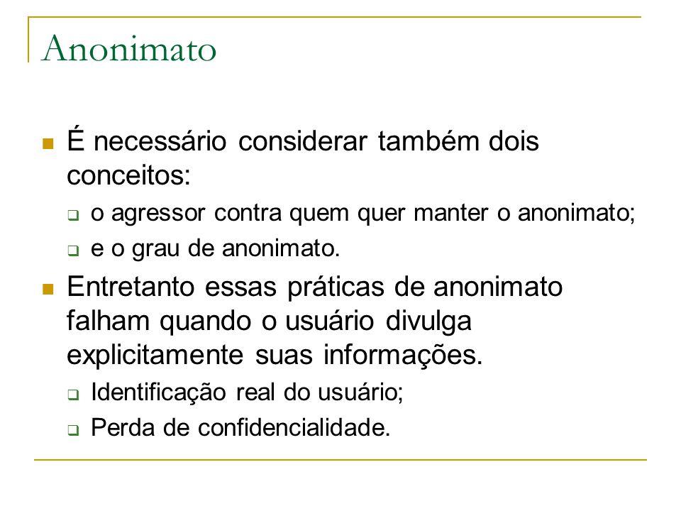 Anonimato É necessário considerar também dois conceitos: o agressor contra quem quer manter o anonimato; e o grau de anonimato.