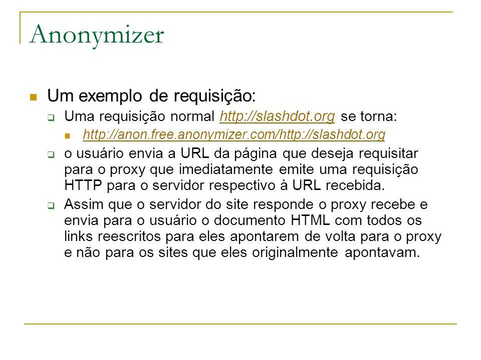Anonymizer Um exemplo de requisição: Uma requisição normal http://slashdot.org se torna:http://slashdot.org http://anon.free.anonymizer.com/http://slashdot.org o usuário envia a URL da página que deseja requisitar para o proxy que imediatamente emite uma requisição HTTP para o servidor respectivo à URL recebida.