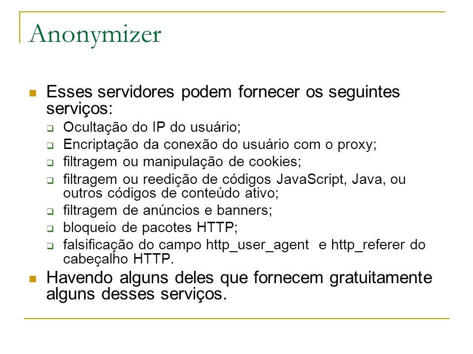 Esses servidores podem fornecer os seguintes serviços: Ocultação do IP do usuário; Encriptação da conexão do usuário com o proxy; filtragem ou manipulação de cookies; filtragem ou reedição de códigos JavaScript, Java, ou outros códigos de conteúdo ativo; filtragem de anúncios e banners; bloqueio de pacotes HTTP; falsificação do campo http_user_agent e http_referer do cabeçalho HTTP.