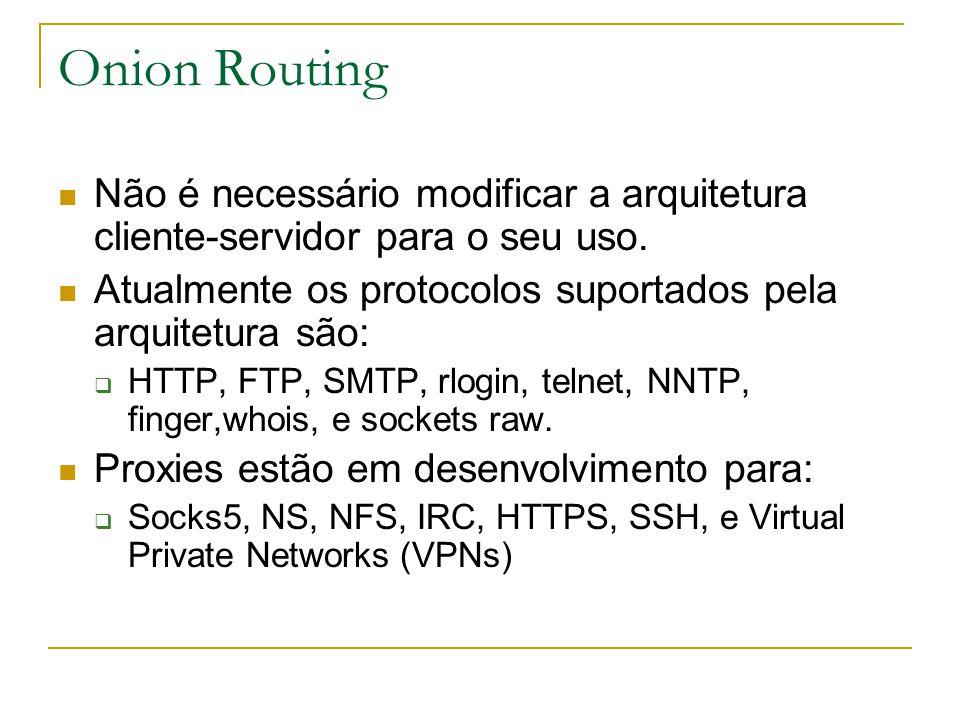 Onion Routing Não é necessário modificar a arquitetura cliente-servidor para o seu uso.