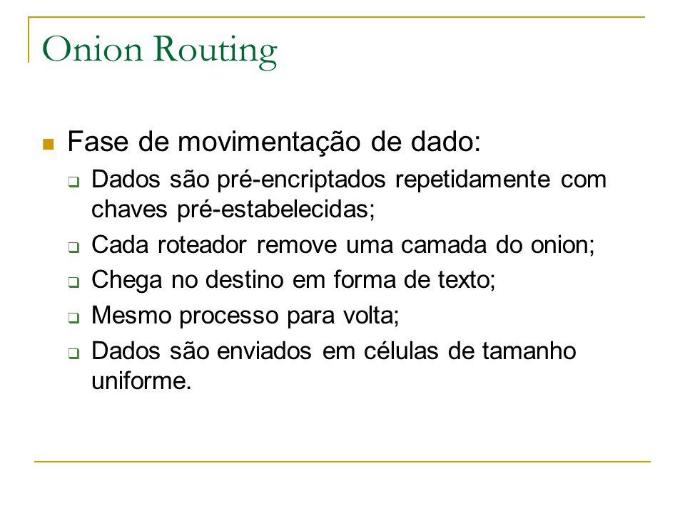 Onion Routing Fase de movimentação de dado: Dados são pré-encriptados repetidamente com chaves pré-estabelecidas; Cada roteador remove uma camada do onion; Chega no destino em forma de texto; Mesmo processo para volta; Dados são enviados em células de tamanho uniforme.