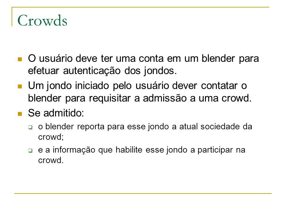 Crowds O usuário deve ter uma conta em um blender para efetuar autenticação dos jondos.