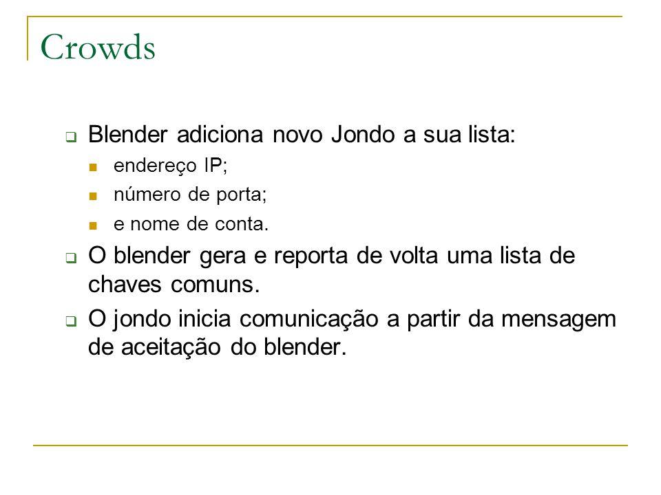 Crowds Blender adiciona novo Jondo a sua lista: endereço IP; número de porta; e nome de conta.