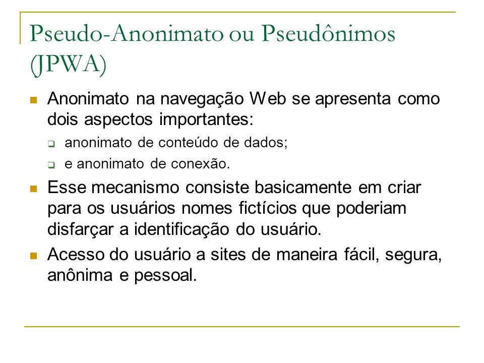 Pseudo-Anonimato ou Pseudônimos (JPWA) Anonimato na navegação Web se apresenta como dois aspectos importantes: anonimato de conteúdo de dados; e anonimato de conexão.