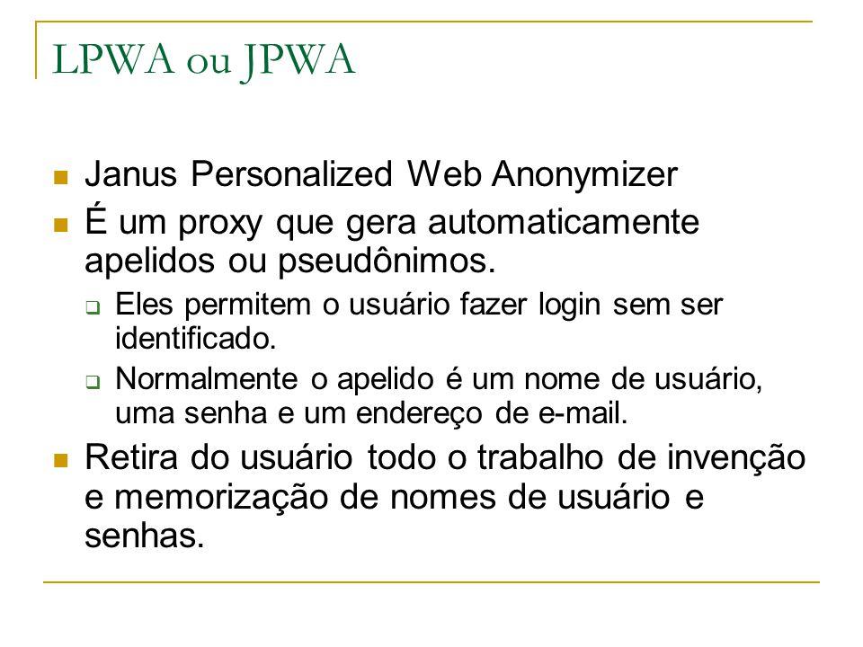 LPWA ou JPWA Janus Personalized Web Anonymizer É um proxy que gera automaticamente apelidos ou pseudônimos.